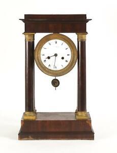 French Gilt Bronze Wood Mantle Clock L  Mallet H. De M. D. D'Orleans early 19th