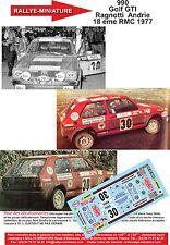 DECALS 1/18 REF 990 VW VOLKSWAGEN GOLF GTI RAGNOTTI RALLYE MONTE CARLO 1977
