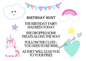 Girls Birthday Hunt Scavenger Clues Party Games Ideas Rainbow Unicorn