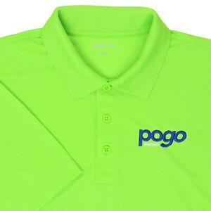 Pogo Energy Men Large 46 Short Sleeve Polo Shirt Bright Green Polyester Electric