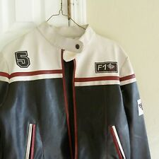 Vintage Women  Biker Motorcycle Synthetic Leather Jacket Coat 36