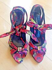19ce2c920813 KAREN MILLEN High Heel Floral Satin Ankle Tie Ribbon Strappy Peep Toe  Sandals 37