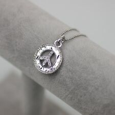 plated peace pendant crystal necklace chain Nwt lia sophia signed jewelry silver