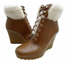 Michael Kors Womens Putnam Wedge Bootie Platform Shearling Lace Up Ankle Boots