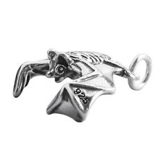Bat Flying Sterling Silver .925 Traditional Charm Halloween Animal CMANBT06