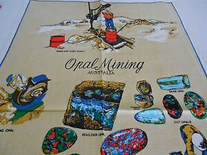 Vintage Teatowel 'Opal Mining'  Linen/Cotton Blend by Ross   Brand New