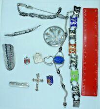 Qty vintage silver paste enamel bracelet brooch hearts + Genuine Tiffany pendant