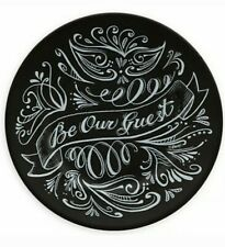 "Disney Parks Be Our Guest Chalkboard Ceramic Dessert Plate Black 7"" Brand New"