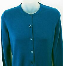 UNIQLO Women Teal Green Knit 100% Wool Button Front Cardigan Sweater Sz M NWOT