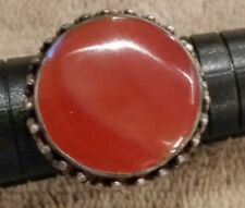 "Vintage Carnelian Silver Ring 1"" Across Stone Size 8 1/2 Sent in Damask Gift Box"