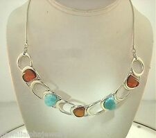 """20mm 925 STER Silver Genuine Baltic Sea Honey Amber Larimar Buckle Necklace 19"""""""