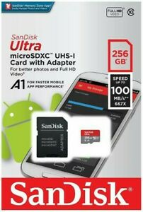 New SanDisk 256gb Ultra  Class 10 Micro SD SDXC Memory Card with adapter