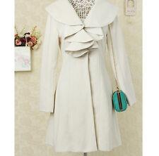 Ladies Elegant Lapel Wool Blend Long Slim Outwear Jacket Coat Outwear SZ Casual