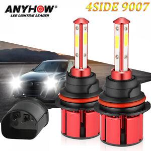2x9007 HB5 4-Side LED Headlight Bulb Hi-Lo Dual Beam 180W 32000LM 6000K White