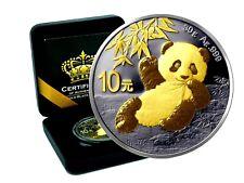 10 Yuan Silber China Panda 2020 Gold Black Empire Edition