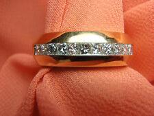 18K Soild Yellow Gold Men's 1ct Princess Cut Diamond Band Ring 10.9 Grams Sz 10