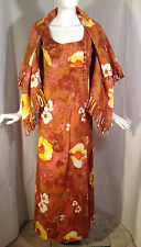 VTG 60s Hawaiian Dress Barkcloth Abstract Floral Print Beach Tiki Sz like XS - S