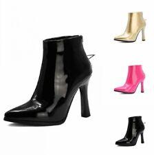 Europe Women Wedding Bridal Back Zipper Pointy Toe High Heel Ankle Boots 44/50 D