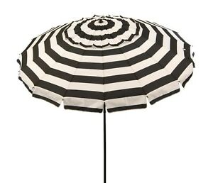 Deluxe 8 ft Patio or Beach Umbrella with Carry Bag in Royal Blue or Black Stripe