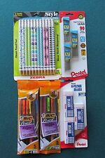Mechanical Pencil Lot With Lead and Erasers
