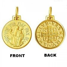 18KT Gold St Benedict Saint Medal - Small - 1.7 Grams - Perfect Image
