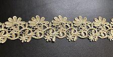 Victorian Antique Metallic Gold Embroidered Lace Trim Wedding Embellish Vintage