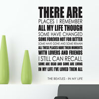 The Beatles wall art sticker In My Life Lyrics decal music quote l23