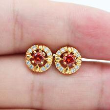 18K Yellow Gold Filled Women Girls RubyTopaz Zircon Gems Small Stud Earrings