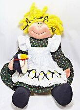 """Anne Klocko Designs Rag Doll With Penguin Vintage 1983 22"""" Tall Collectible"""