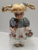 Geppedo Doll With Blonde Braided Pigtails Original Dress Satin Underlay Rosettes
