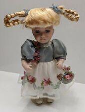 Geppedo Doll With Blonde Braided Pigtails Original Dress Satin Underlay Rosettes
