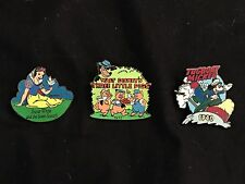 Three Disney Pins - Snow White, 3 Little Pigs, & Tugboat Mickey.
