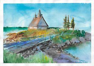 original painting A4 224GM art samovar watercolor landscape Signed 2021