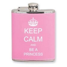 Pink Leather 6oz Stainless Steel Hip Flask Keep Calm and Be A Princess