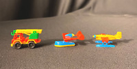 3 Vintage Bruder Plastic Bi-Plane Construction Truck Airplane Made in W. Germany