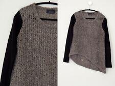 LINE Asymmetrical Colorblock Gray Black High Low Hem Open Knit modern Sweater M