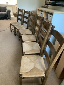 Six Solid Wood Ladder Back Chairs with Rush Seats