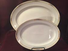 VINTAGE MEITO CHINA SET OF TWO LARGE OVAL SERVING TRAYS PLATTERS