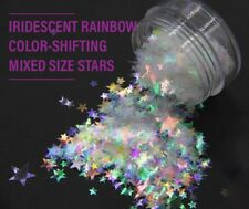 USA CLEAR RAINBOW IRRIDESCENT COLOR SHIFTING STARS Solvent Resistant Nail Art