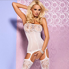 Sexy Babydoll Lingerie Body stocking Bridal Suspender Garters Bodysuit Size 6-12