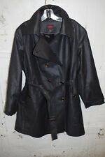 GALLERY WOMAN 2X Plus BLACK Iridescent TRENCH Coat Belted