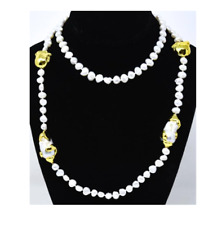 """VINTAGE 38"""" Tahitian Baroque White Pearl Necklace with Yellow Gold Plated Pearls"""