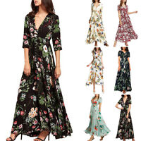 Women's Floral Printed Button Up Short Sleeve Split Flowy Party Long Dress P