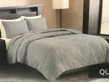 "METROPOLITAN HOME ""Crossgates"" Queen Size~3 Piece QUILT MINI SET ~ Grey ~ NIP"