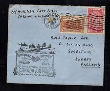 1939 Shediac Canada to England FFC airmail First Flight Cover