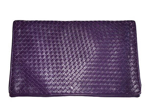Purple Intrecciato Myers Woven Leather Purse JUMBO Clutch Bag Handbag Crossbody