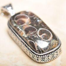 ARTIGIANALE TURRITELLA Fossil Agata pendente dell'argento sterlina 925 5.7CM