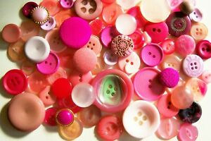 A lot of 75 mixed vintage buttons in shades of pink/crafting/collage/jewellery