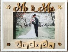 WOODEN PHOTO FRAME - MR & MRS -Home Decor,Wedding Gift, Personalised, Scrabble