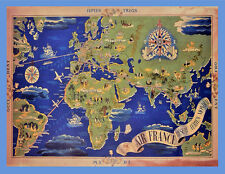 "18x24""Travel Decoration Canvas.Home Room Interior design.Mapa Mundi.6575"